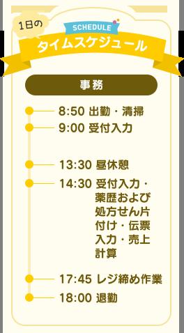 1日のタイムスケジュール(事務)